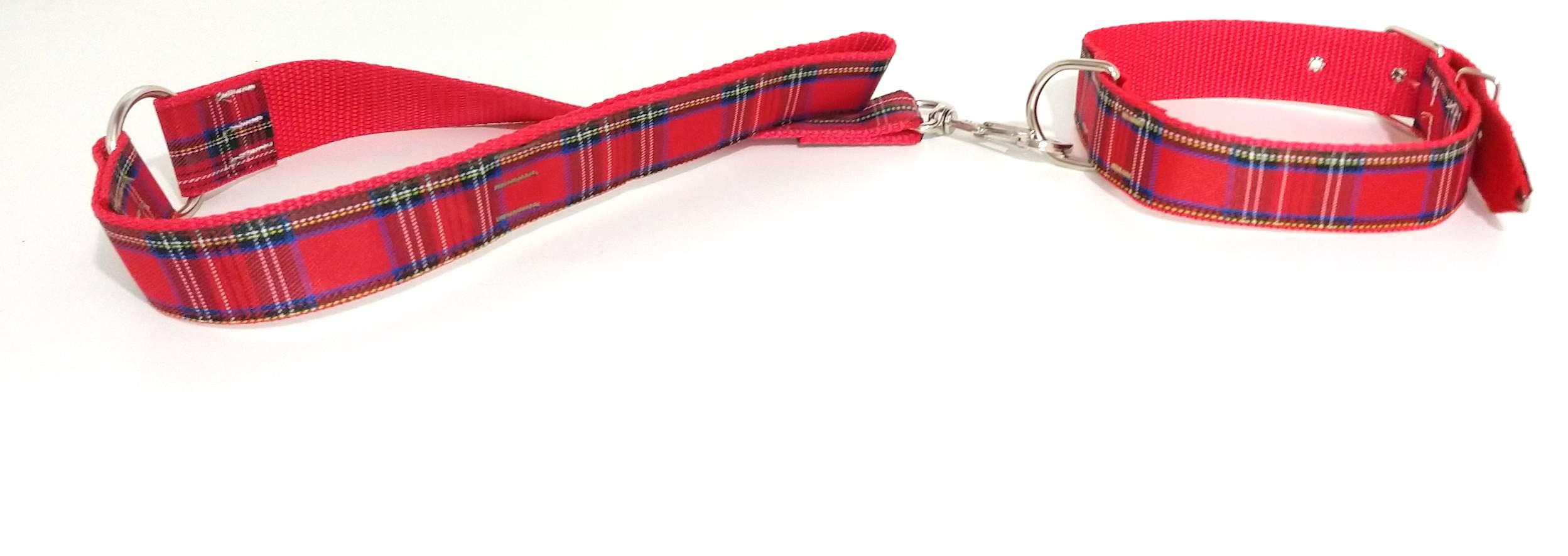 Coleira e guia com argola 40 mm vermelho tamanho nº.6