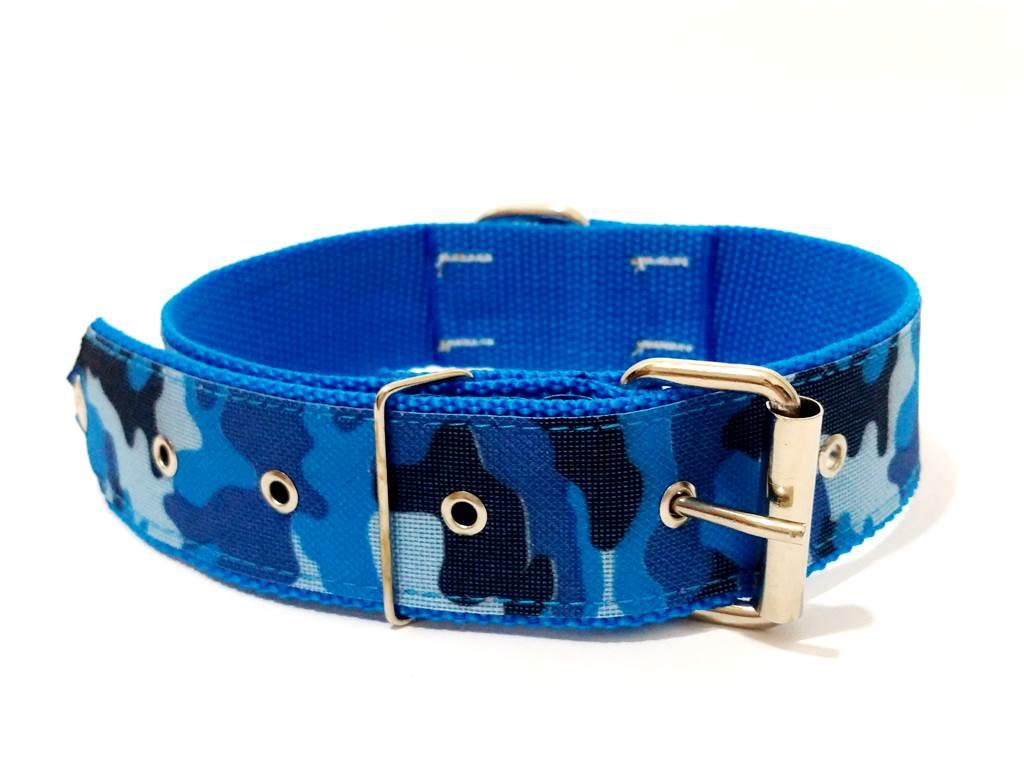 Coleira Cachorro Nylon  Azul  Tamanho Nº. 7 (50 Cm A 62 Cm)