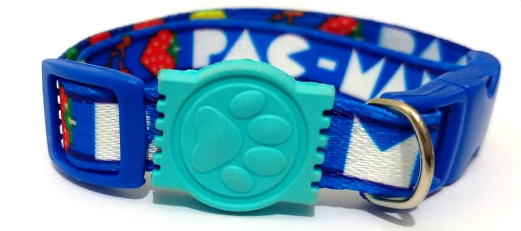 Coleira De Seda Estampa Pac Man Na Cor Azul Tamanho Único