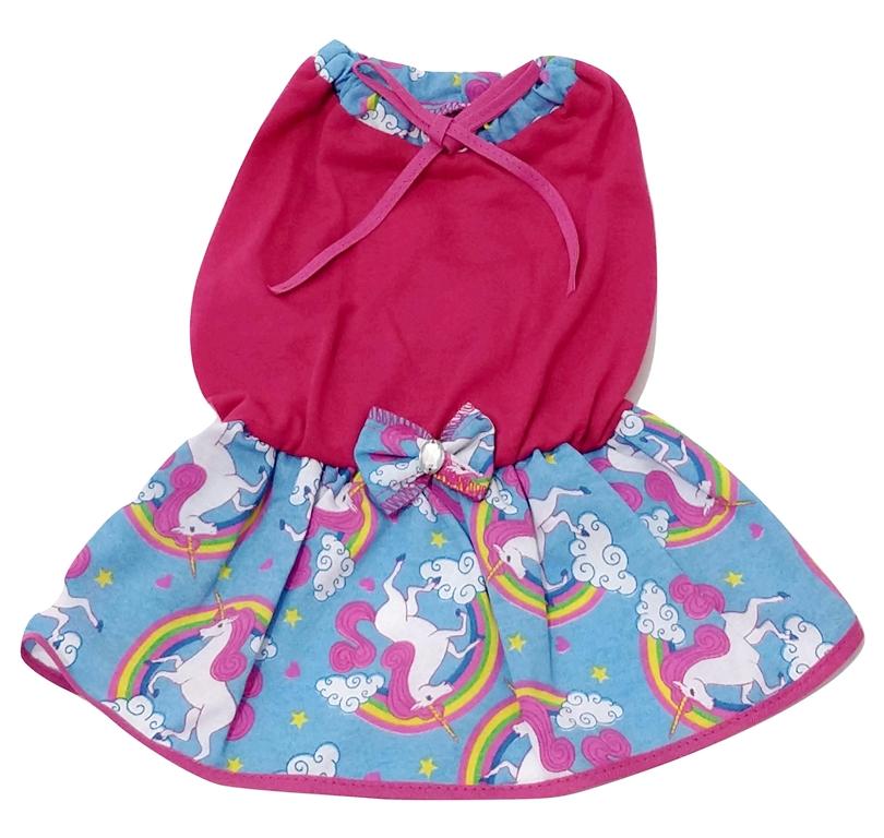 Vestido Para Cachorro Em Malha Com Lacinho Tecido Rosa M