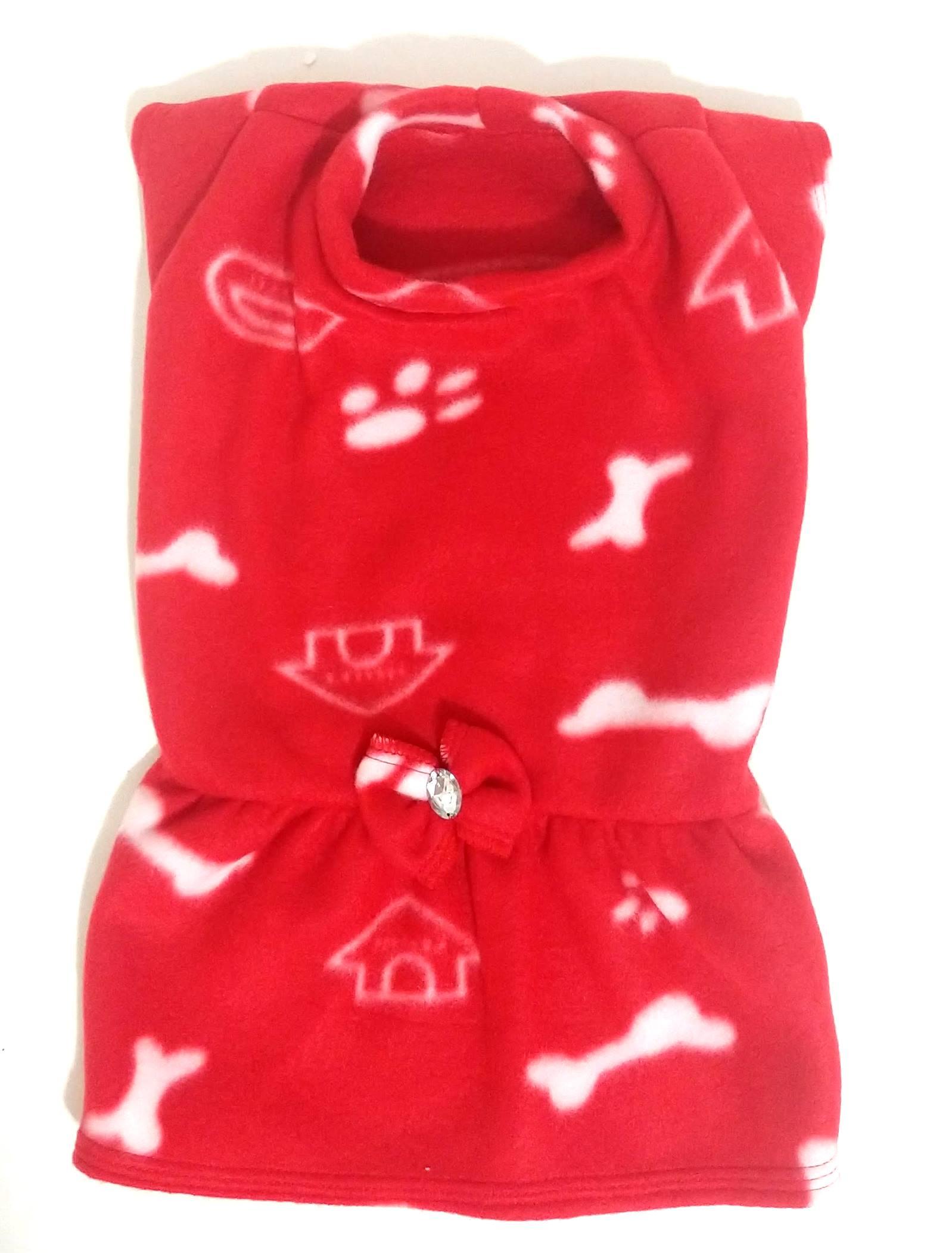 Vestido De Inverno Soft Para Cachorro Vermelha Tamanho G