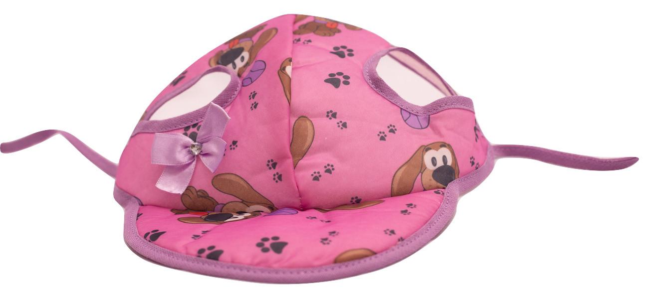 Boné Para Cachorro Com Viseira  Rosa Com Lacinho Lilás Tam G