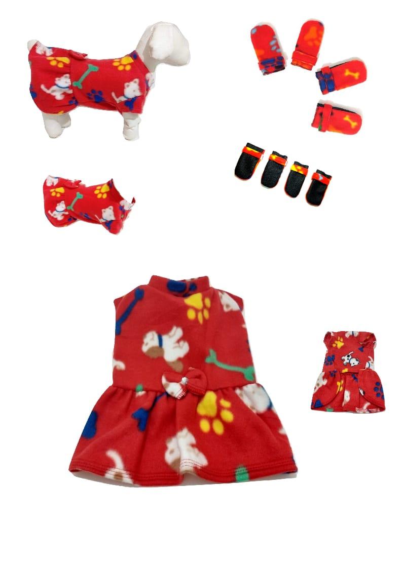 Kit Inverno Vestido Soft E Sapatinho Soft Vermelha M
