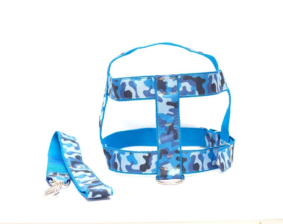 Kit Guia Com Peitoral 25Mm Azul Tamanho 4 (46 Cm A 51 Cm)