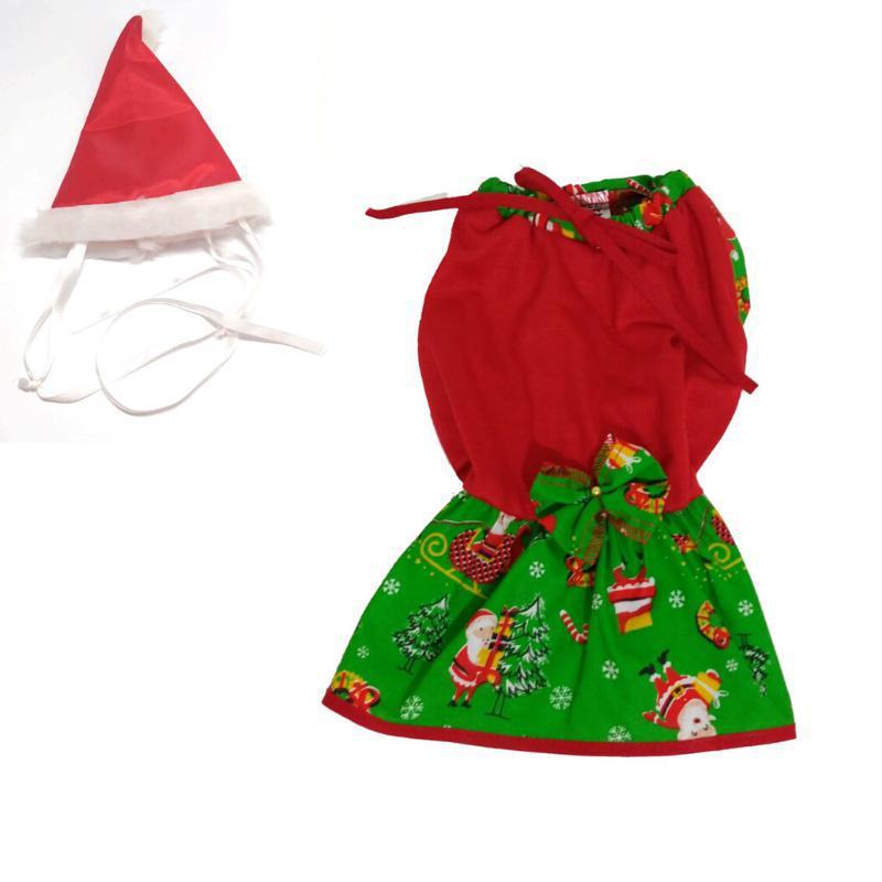 Vestido De Natal Com Saia Verde + Gorro De Natal - Tamanho M