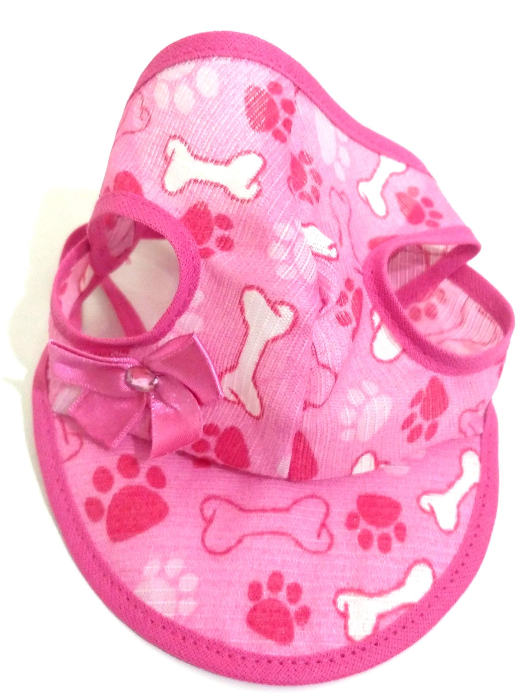 Boné Para Cachorro Com Viseira Rosa Estampado Tamanho M