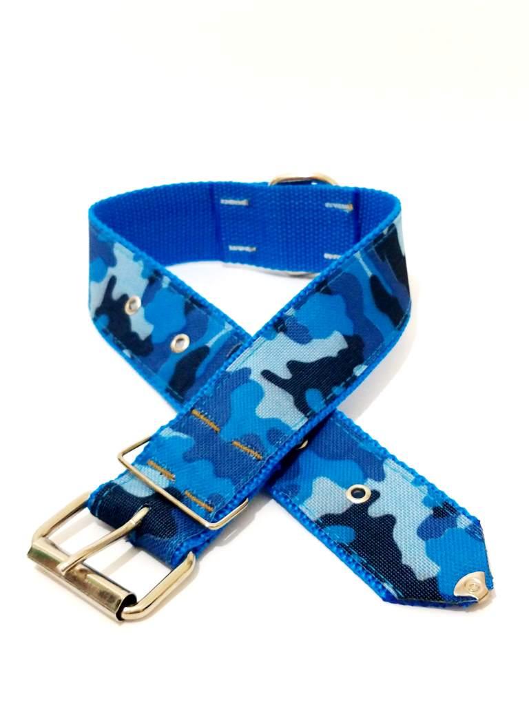 Coleira Para Cachorro Xadrez Nylon Azul Nº.5 (38 Cm 49 Cm)