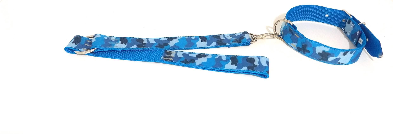 Coleira E Guia Com Argola 40 Mm Azul Tamanho Nº.6