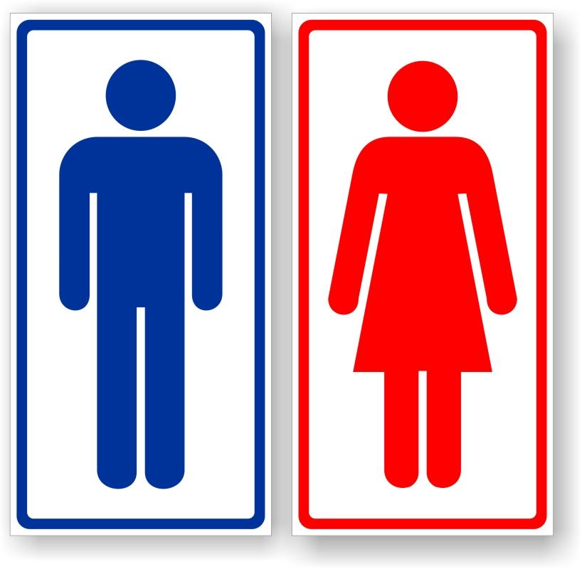 Kit Placas Banheiro Masculino E Feminino  Vinil Studio  R$ 12,00 em Mercado -> Mictorio Banheiro Feminino