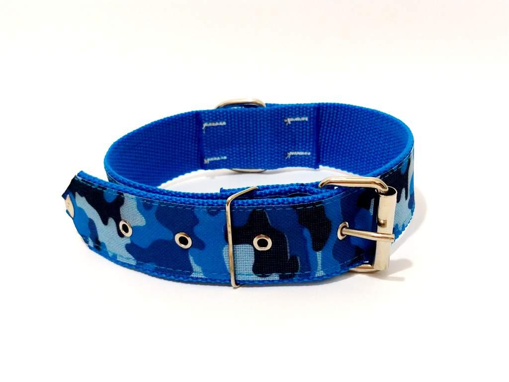 Coleira Cachorro Xadrez Nylon  Cor  Azul Nº. 6 (40Cm-54Cm)