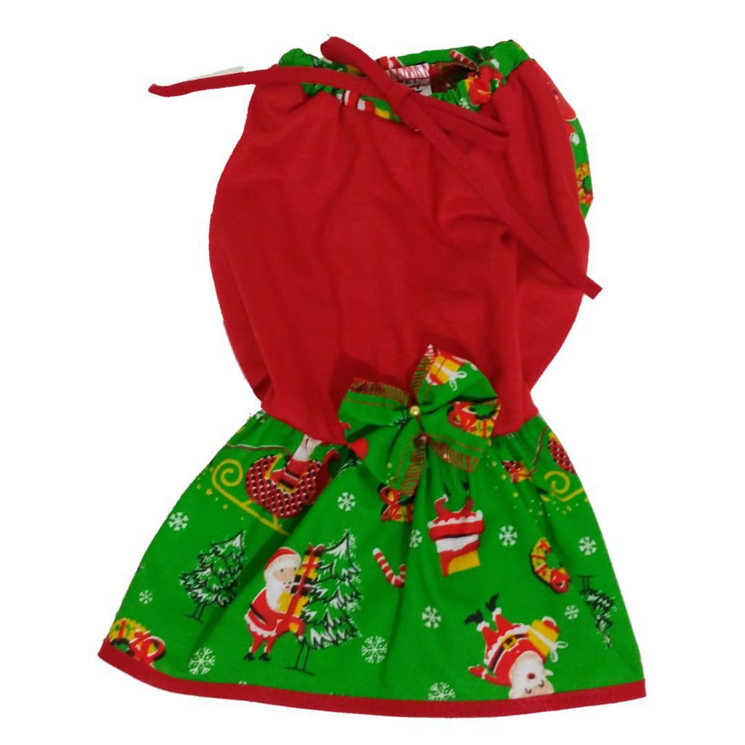 Vestido De Natal Para Cachorro Vermelho - Tamanho G