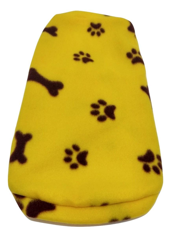 Roupa Capa Soft Para Cães Amarelo Com Patinhas Tamanho Gg