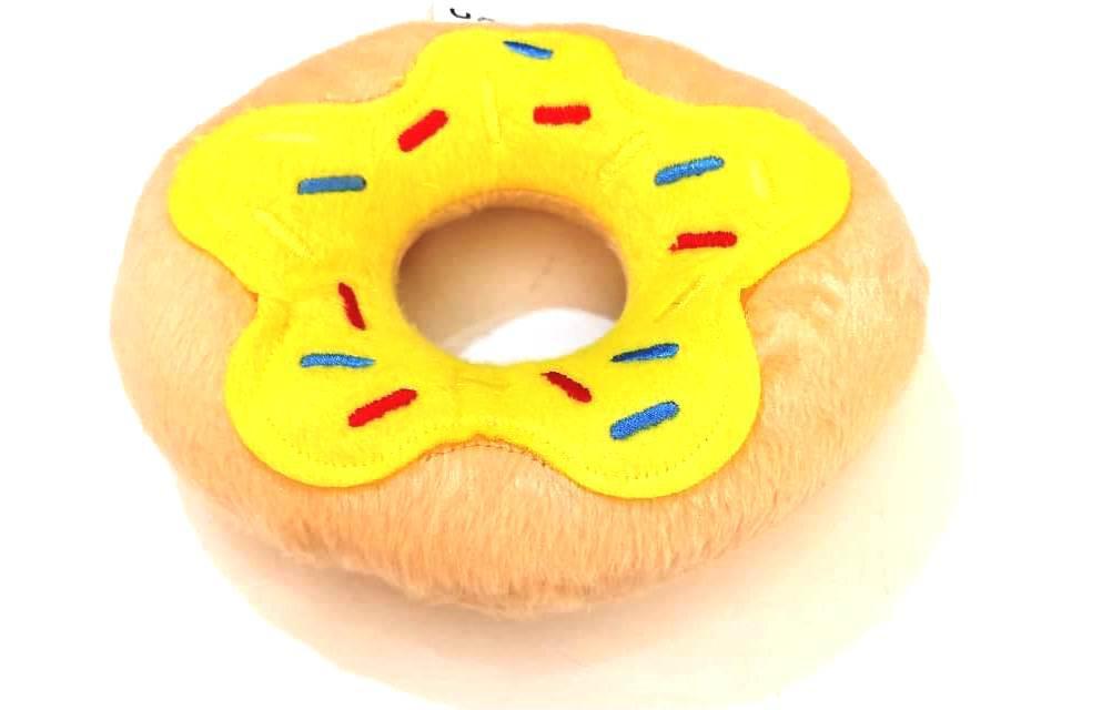 Brinquedo Pet Rosquinha De Pelúcia Para Cães Amarelo