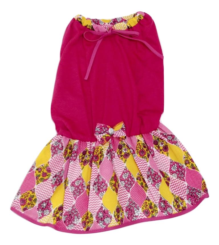Vestido Para Cachorro Malha Com Laço Rosa Saia Estampada Gg