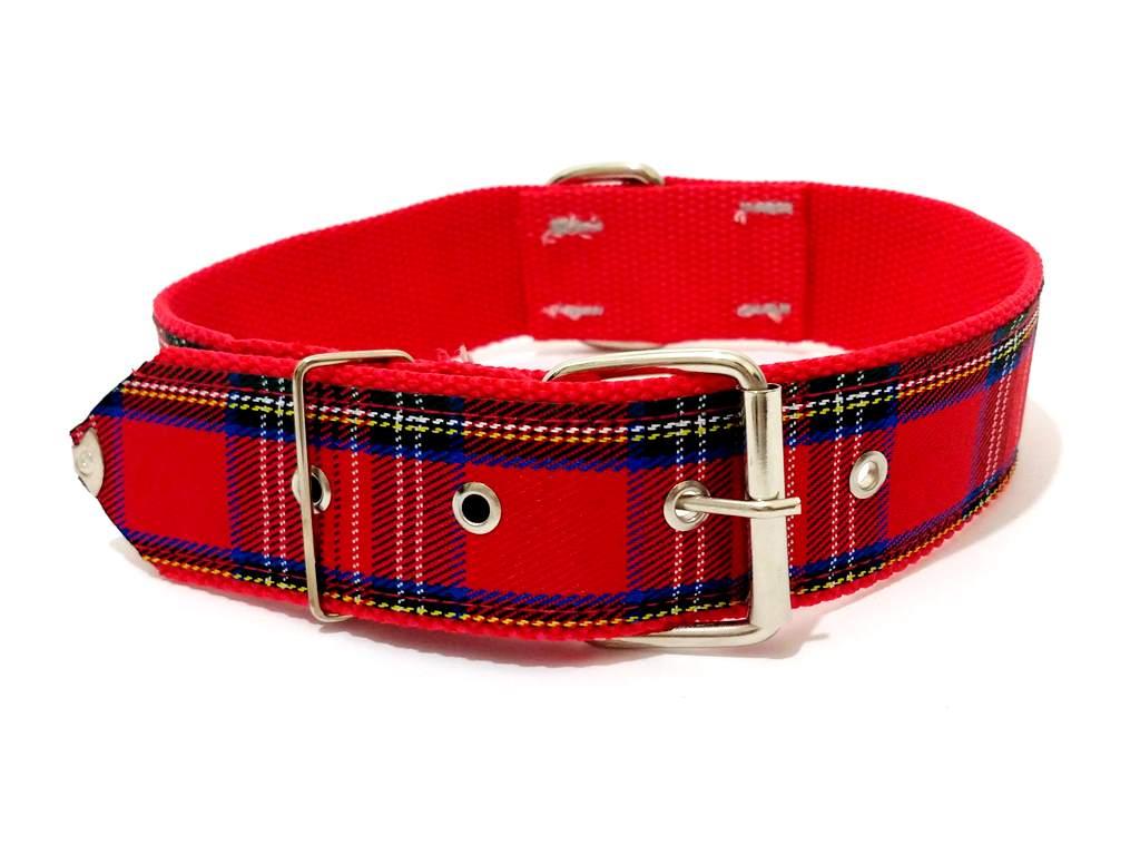 Coleira Para Cachorro Xadrez Nylon Vermelha Nº.6 (40Cm-54Cm)