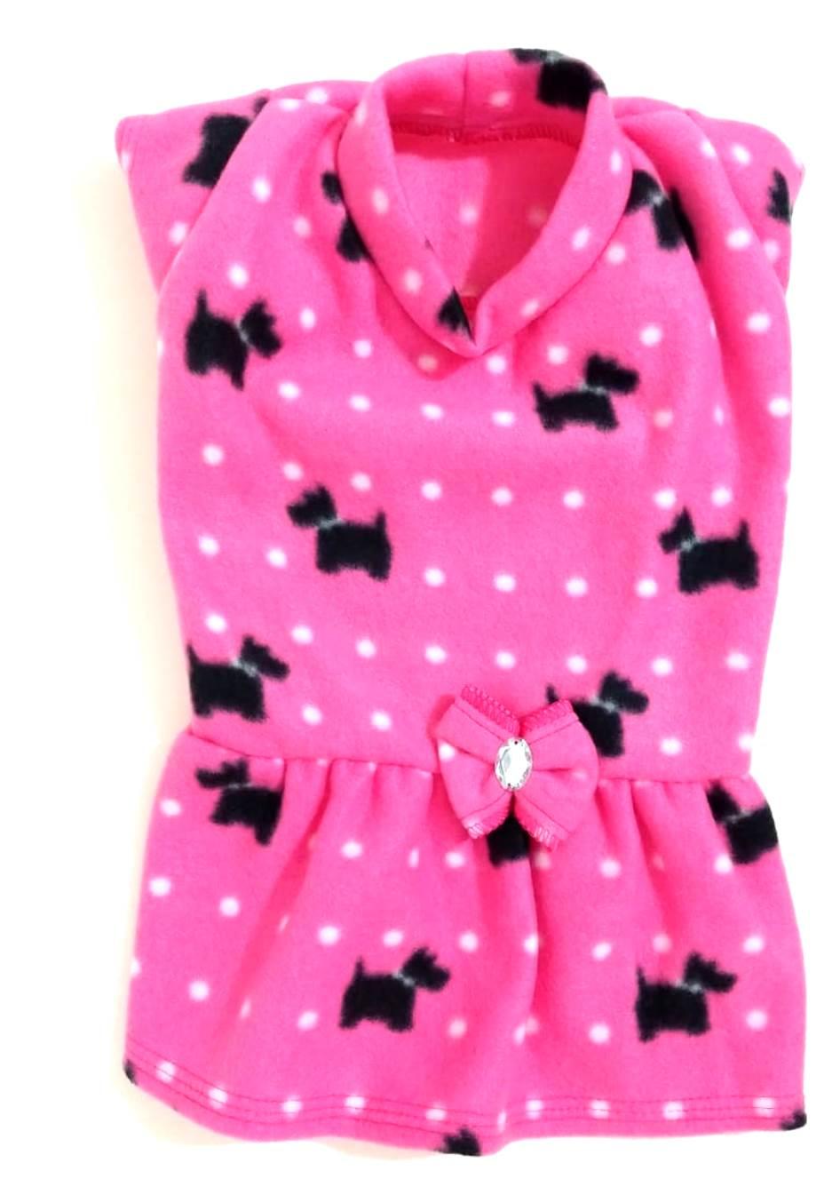 Vestido De Inverno Soft Rosa Com Estampa Dog Tamanho G