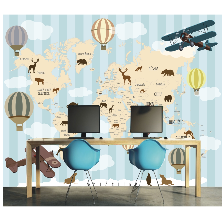 Adesivo infantil papel de parede menino mapa mundi 7m gg - Papel pared mapa mundi ...
