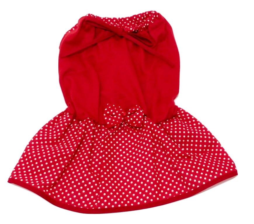 Vestido Para Cachorro Malha Com Lacinho Vermelha Tamanho P