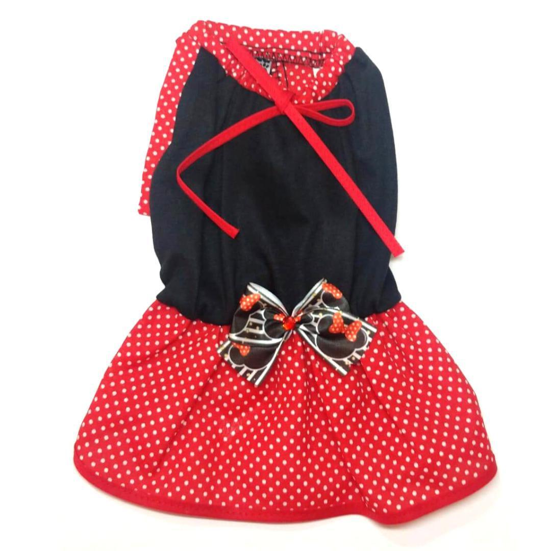 Vestido De Verão Para Cachorro -Preto Com Laço Da Minnie - M