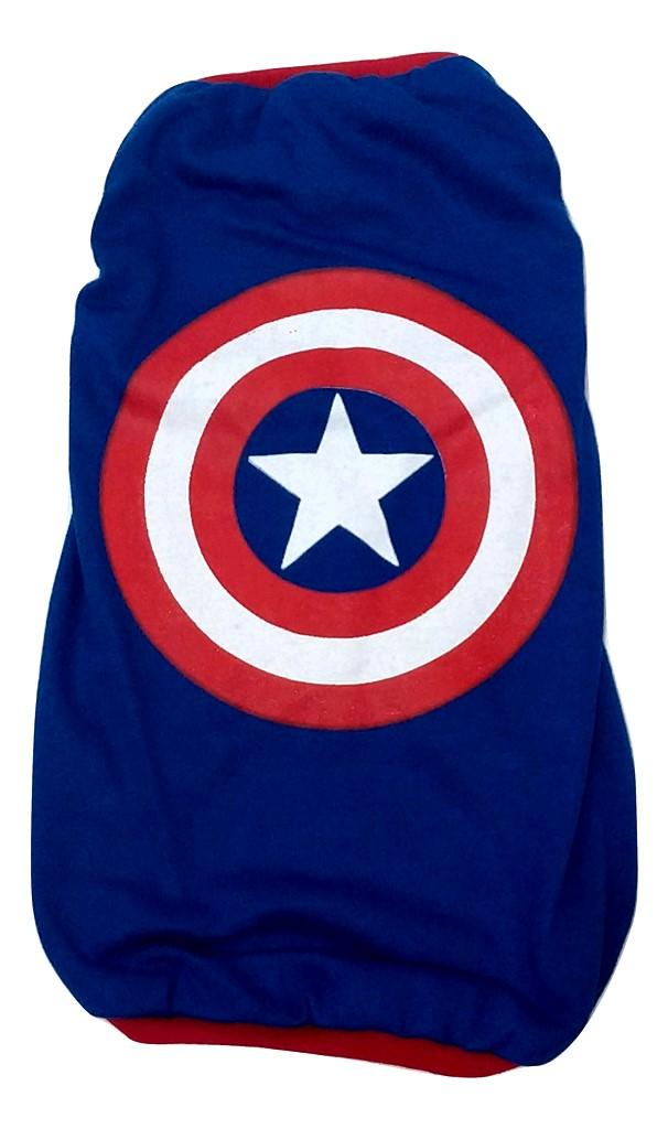 Camiseta Super Heróis  Capitão América Azul  Tamanho G