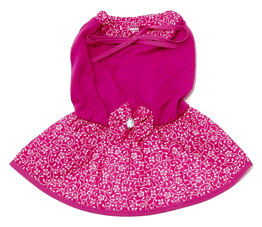 Vestido Cachorro Malha Laço Rosa Saia Estampada Flores P