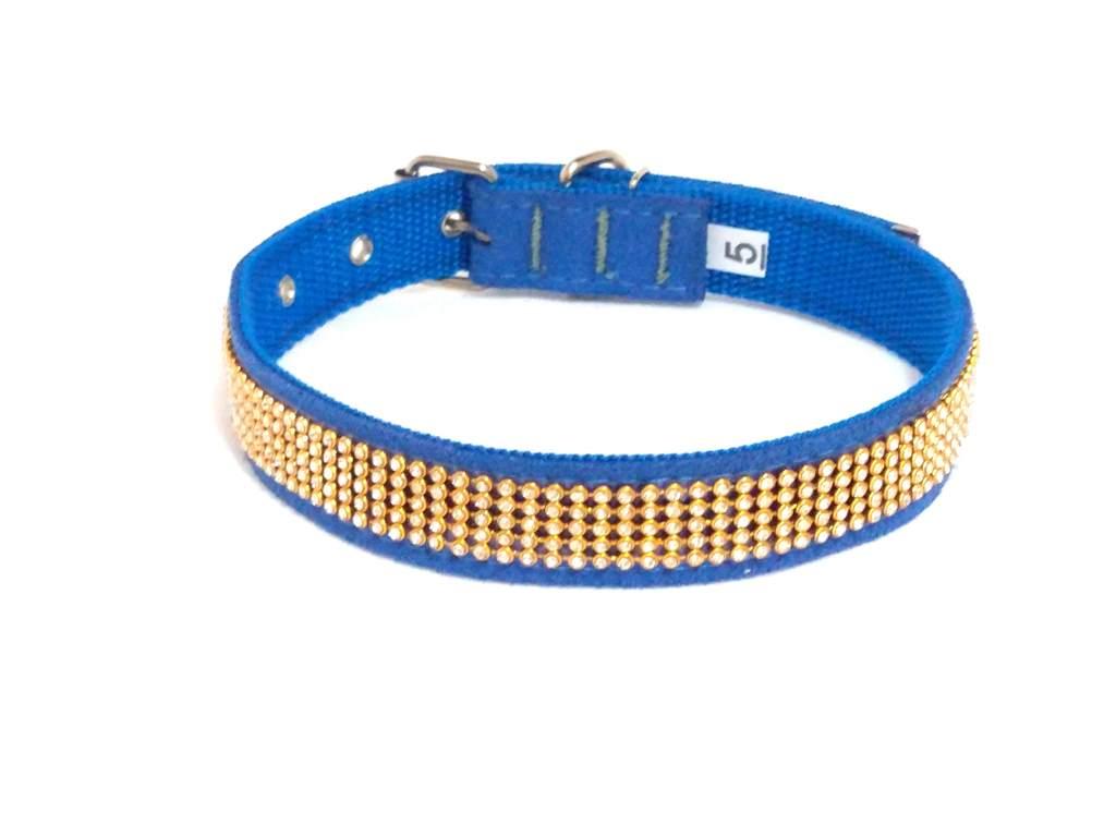 Coleira camurça com strass azul tamanho nº. 05
